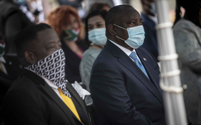 President Cyril Ramaphosa at the unveiling of the new statue of Oliver Tambo.  Picture: Abigail Javier/EWN