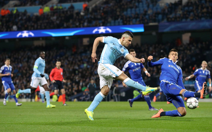 Manchester City striker, Sergio Aguero takes a shot in the Champions League match against Dynamo Kiev on 15 March 2016. Picture: Manchester City Facebook page.