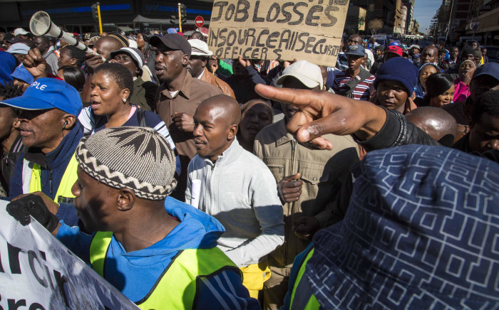 Security personnel marched from Church Square in Tshwane to the Tshwane House to demand the city's Mayor Solly Msimanga to stop outsourcing to security firms. Picture: Thomas Holder/EWN.
