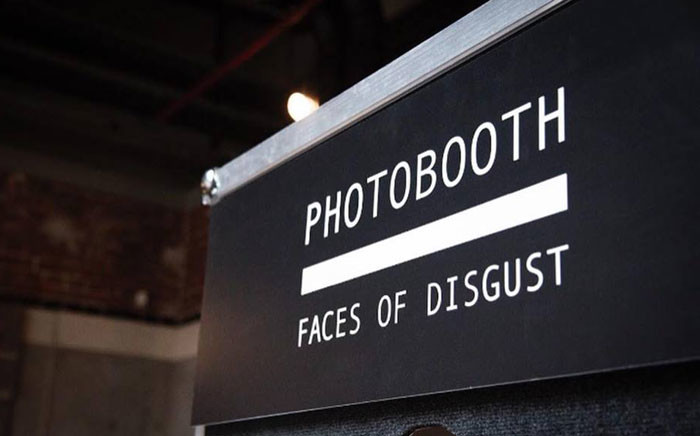 A sign to a photo booth at the Disgusting Food Museum in Los Angeles. Picture: facebook.com