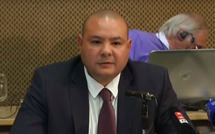 A screengrab of former Sars spokesperson Adrian Lackay giving evidence at the Sars Commission of Inquiry.