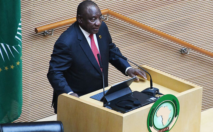 FILE: President Cyril Ramaphosa addressing the African Union (AU) in Addis Ababa, Ethiopia, on 9 February 2020 during his acceptance statement on assuming the chair of the AU for 2020. Picture: @PresidencyZA/Twitter