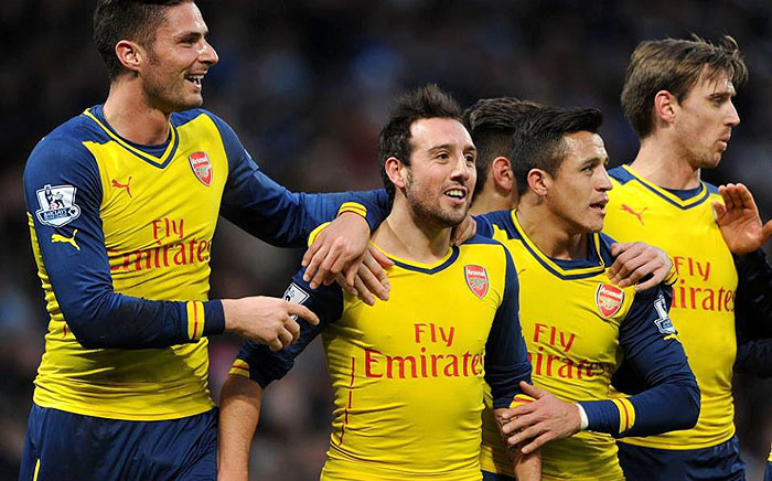 Arsenal's Santi Carzola (C) is flanked by Olivier Giroud (R) and Alexis Sanchez (R) after an impressive game against Man City on 18 January 2015. The Gunners won 2-0. Picture: Official Arsenal Facbook