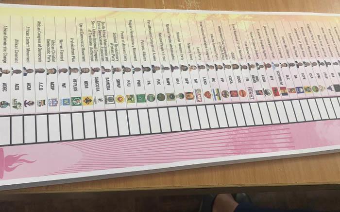 A general view of a ballot paper. Picture: Nthakoana Ngatane/EWN.