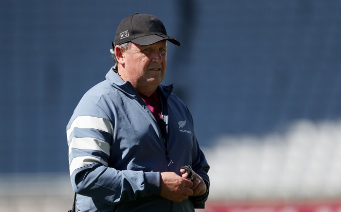 New Zealand's coach Ian Foster looks on during a training session in Auckland on 16 October 2020 ahead of the second Bledisloe Cup rugby union match. Picture: AFP.