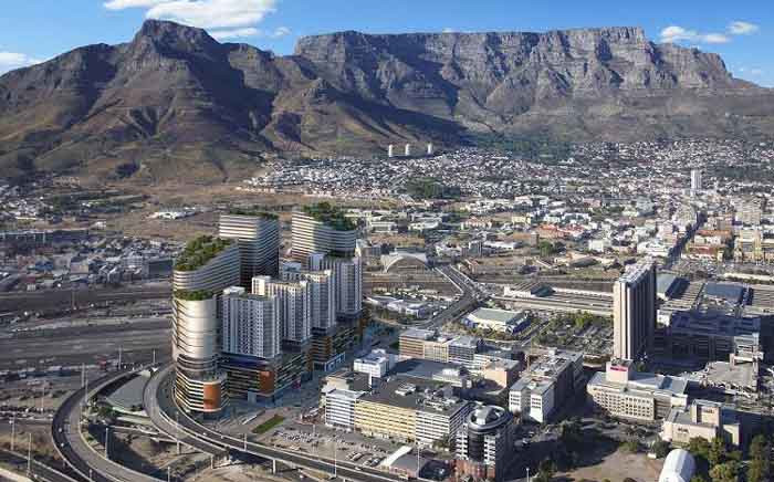 A general view of the planned Harbour Arch development, left, in the Cape Town CBD. Picture: @NdifunaUkwazi/Facebook.com