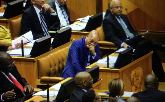 FILE: President Jacob Zuma laughing in Parliament during the State of the Nation Address debate on 17 February 2015. Picture: Thomas Holder/EWN.