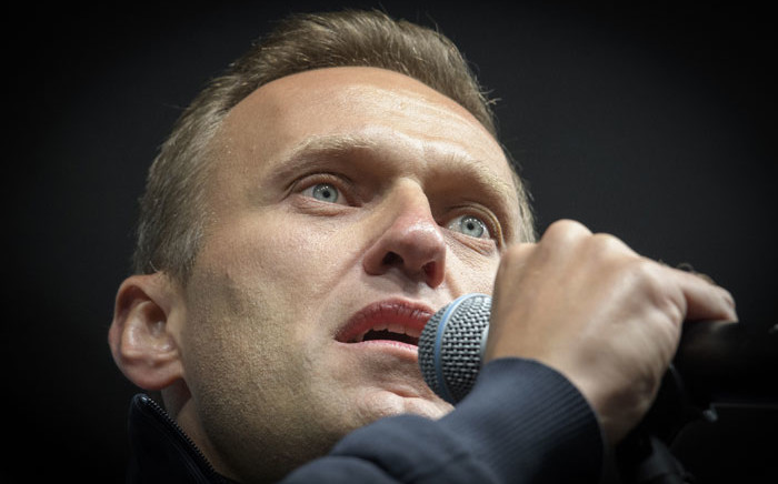 This file photo taken on 29 September 2019 shows Russian opposition leader Alexei Navalny delivering a speech during a demonstration in Moscow. Picture: AFP