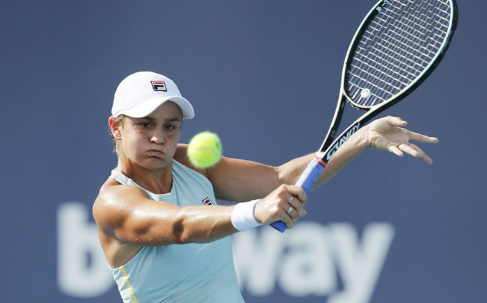 FILE: Ashleigh Barty of Australia returns a shot to Elina Svitolina of Ukraine in their semifinal match during the Miami Open at Hard Rock Stadium on April 01, 2021 in Miami Gardens, Florida. Picture: Michael Reaves/Getty Images/AFP.