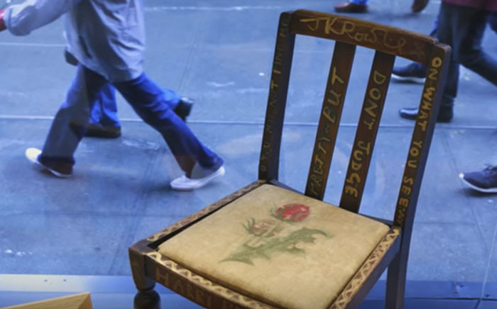 Youtube screengrab of the chair J.K. Rowling sat on when she first wrote the Harry Potter books.