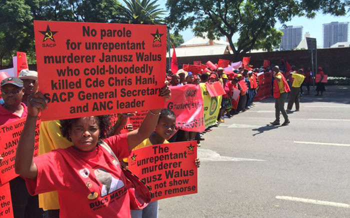 Demonstrators supporting the decision by Justice Minister Michael Masutha to appeal the court order granting parole to Chris Hani's killer. Picture: Reinart Toerien/EWN.