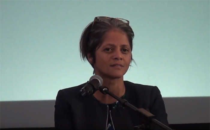 A YouTube screengrab of Advocate Hermione Cronje.
