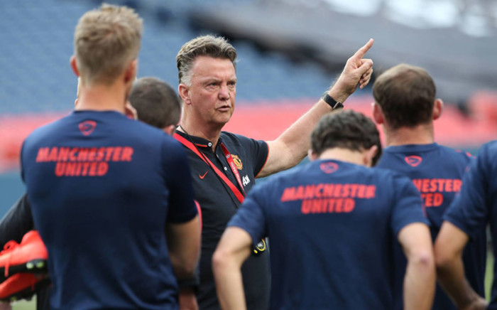 Manchester United's new manager Louis van Gaal giving his players instructions during the team training session in New York. Picture: Facebook.com.