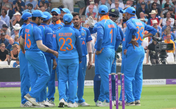 India celebrate the fall of a wicket in their ODI match against England at Trent Bridge on 12 July 2018. Picture: @BCCI/Twitter