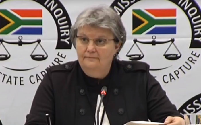 FILE: A screengrab of former Public Enterprises Minister Barbara Hogan appearing at the Zondo Commission of Inquiry into state capture on 13 November 2018.