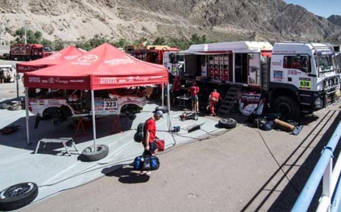 Toyota team in the 2014 Dakar Rally.