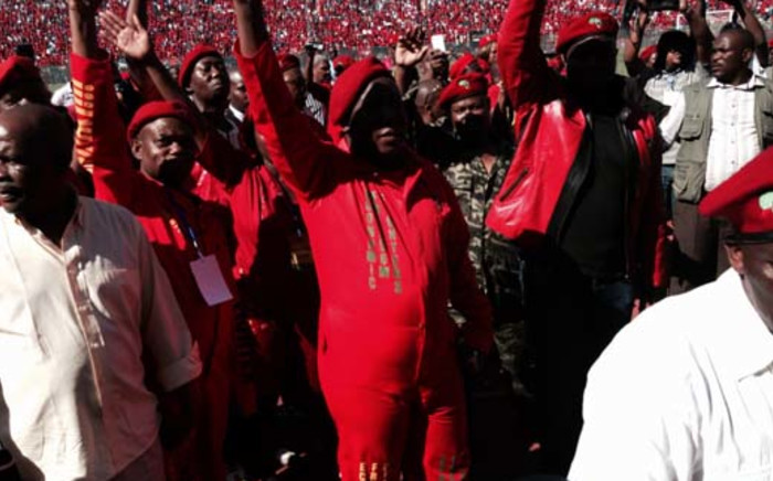 Leader, Julius Malema arriving at an Economic Freedom Fighters (EFF) rally. Picture: Sebabatso Mosamo/EWN.
