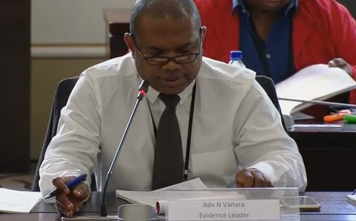 A screengrab of advocate Ntuthuzelo Vanara leading evidence in parliamentary inquiry into state capture at Eskom.