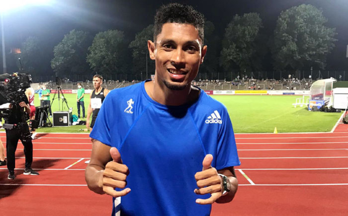 Olympic 400m champion Wayde van Niekerk celebrates his win in the 400m event in Bellinzona, Switzerland on 15 September 2020. Picture: @WaydeDreamer/Twitter