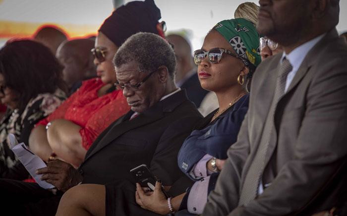 Chris Hani's daughter, Lindiwe Hani, sits amongst gathered VIPs at the Thomas Titus Nkobi Memorial Park during a memorial for her father Chris. Picture: Thomas Holder/EWN