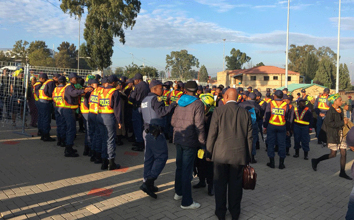 SAPS officials seen at the Orlando Stadium before the funeral for struggle icon Winnie Madikizela-Mandela got underway, on 14 April 2018. Picture: Ihsaan Haffejee/EWN.