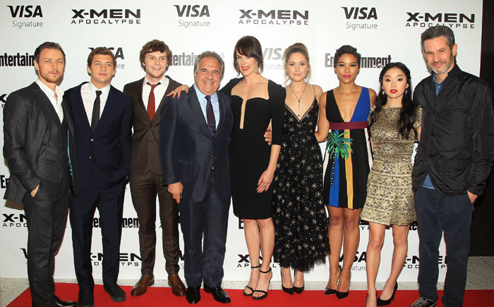 The cast of X-Men: Apocalypse reunite at the New York Fan Screening. Picture: X-Men Movies official Facebook page.
