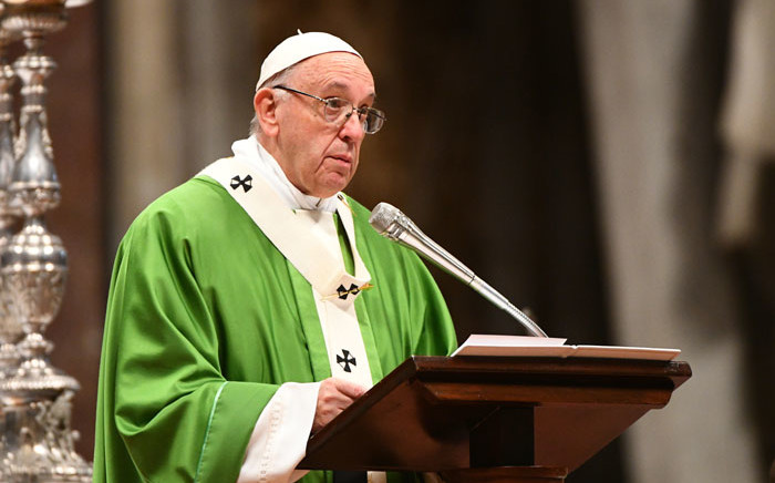 FILE: Pope Francis leads a mass to mark the first World Day of the Poor on 19 November 2017 at St Peter's Basilica in Vatican. Picture: AFP