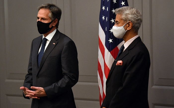 US Secretary of State Antony Blinken attends a press conference with India's Foreign Minister Subrahmanyam Jaishankar following a bilateral meeting in London on 3 May 2021, during the G7 foreign ministers meeting. Picture: Ben Stansall/AFP