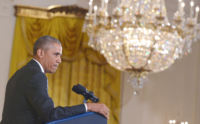 FILE: US President Barack Obama speaks during a press conference on the nuclear deal with Iran on 15 July, 2015 in the East Room of the White House in Washington. Picture: AFP.