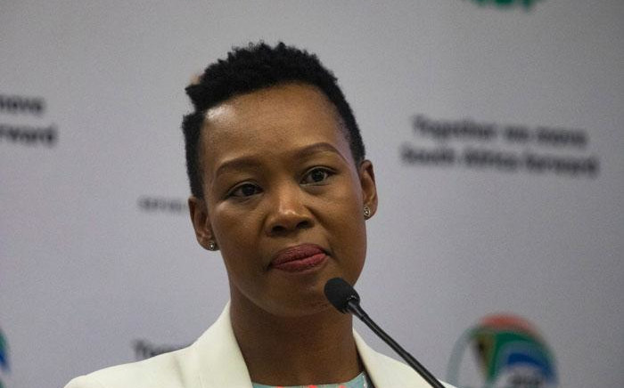 Communications Minister Stella Ndabeni-Abrahams at a media briefing on the coronavirus on 25 March 2020 in Pretoria. Picture: Kayleen Morgan/Eyewitness News.