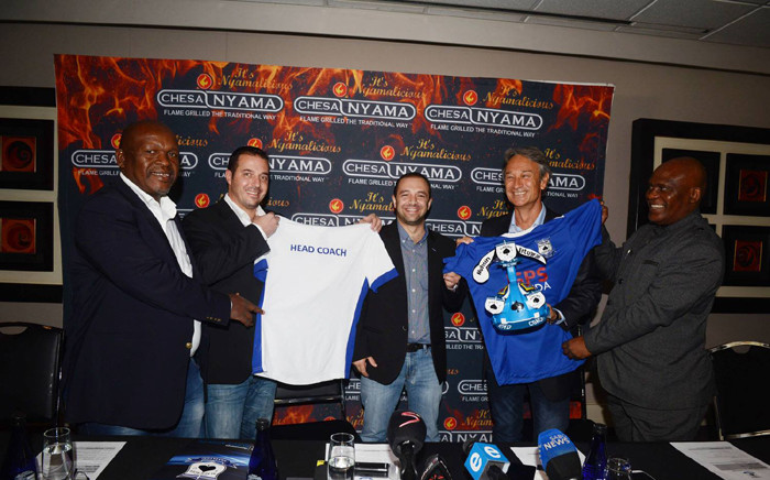 Mpumalanga Black Aces management poses with newly appointed coach, Mushin Ertugral (second from right) on 13 May 2015. Picture: Mpumalanga Black Aces official Facebook page.