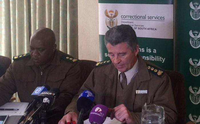 Acting Correctional Services Commissioner James Smalberger addresses the media. Picture: Thando Kubheka/EWN