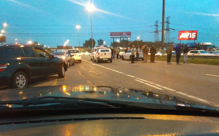The Ekurhuleni Metro Police Department are monitoring a go-slow by metered taxi drivers on R24 highway east. Picture: @crimeairnetwork