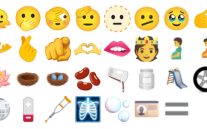 A pregnant man and a handshake featuring different skin tones are among the newest emojis to be released. Picture: @unicode/Twitter