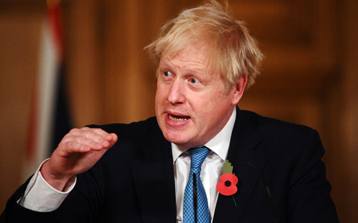 Britain's Prime Minister Boris Johnson delivers a statement on coronavirus statistics and testing and lockdown measures during a virtual press conference inside 10 Downing Street in central London on 5 November 2020. Picture: AFP