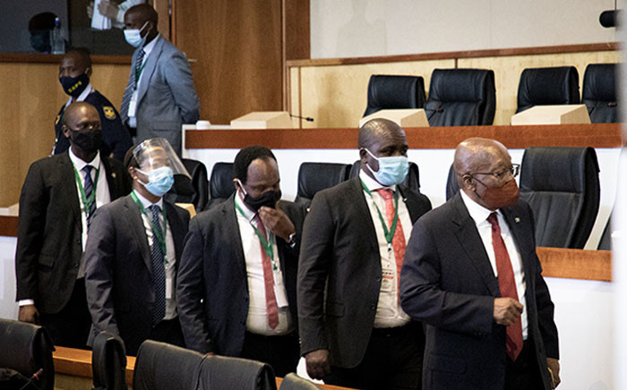 Former President Jacob Zuma (far right) arrives at the state capture commission of inquiry in Johannesburg on 16 November 2020. Picture: Xanderleigh Dookey/EWN.