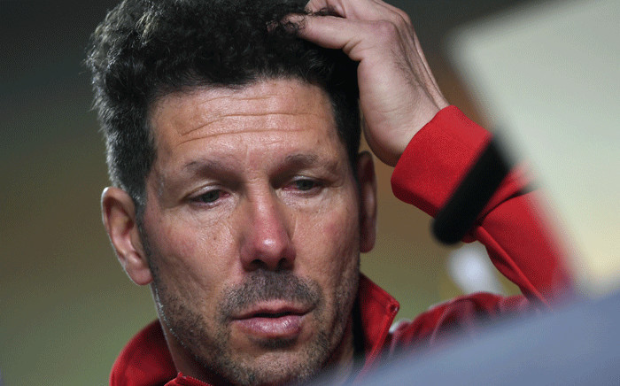 Atletico Madrid's Argentinian coach Diego Simeone holds a press conference at the Wanda Metropolitan Stadium in Madrid on 2 May 2018 on the eve of the UEFA Europa League semi-final second leg football match between Atletico Madrid and Arsenal. Picture: AFP.