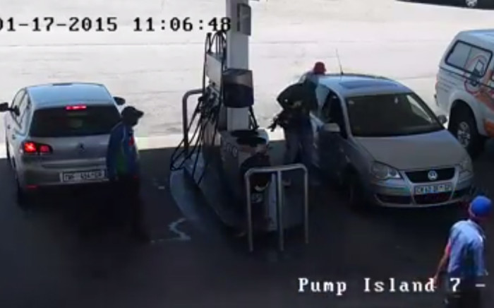 Petrol station robbery caught on camera.  Picture: supplied