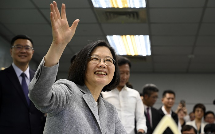 FILE: Taiwan's President Tsai Ing-wen waves while registering as the ruling Democratic Progressive Party (DPP) 2020 presidential candidate at the party's headquarter in Taipei on 21 March 2019. Picture: AFP