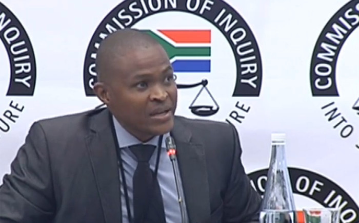 A YouTube screengrab shows Daniel Mahlangu, the sole director of BNP Capital, at the state capture commission on 27 June 2019.