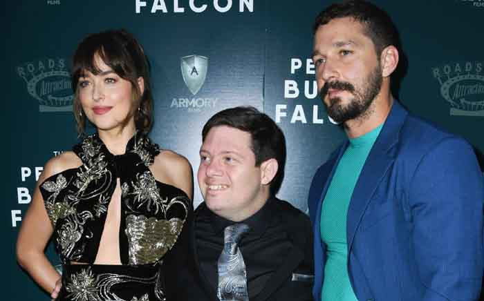 Dakota Johnson, Zack Gottsagen and Shia LaBeouf attend a special screening of 'The Peanut Butter Falcon' on 1 August 2019 in Hollywood. Picture: AFP