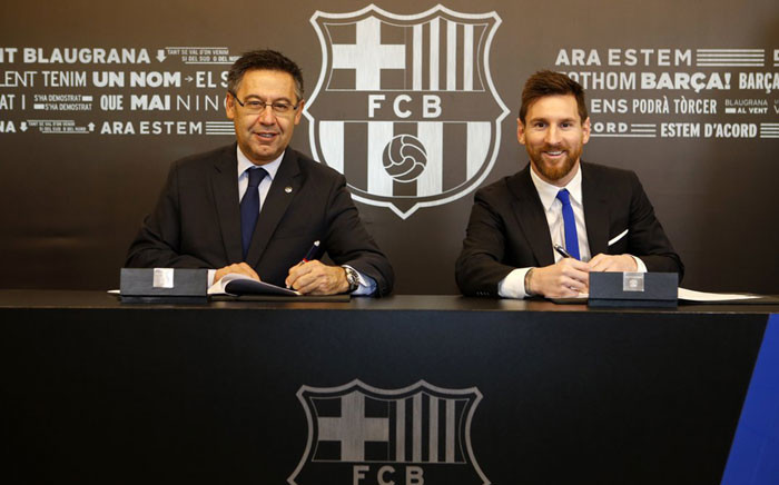 Lionel Messi (R). Picture: @FCBarcelona.