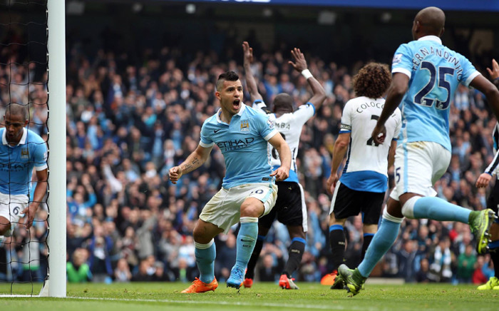 Manchester City's striker, Sergio Aguero, celebrates his goal against Newcastle United in the English Premier League on 3 October 2015. Picture: Manchester City official Facebook page.