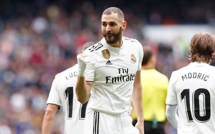 FILE: Real Madrid Karim Benzema celebrates scoring a goal against Athletic Bilbao. Picture: @realmadriden/Twitter.