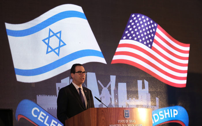US Treasury Secretary Steve Mnuchin gives a speech as he attends the official reception on the occasion of the opening of the US Embassy at the Ministry of Foreign Affairs in Jerusalem, on 13 May, 2018. Picture: AFP