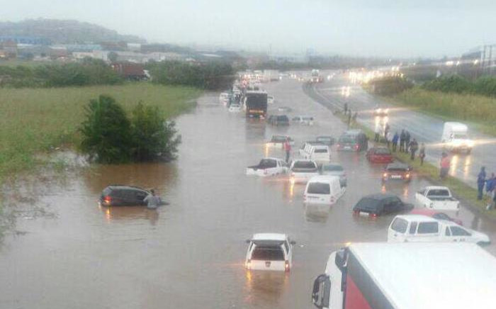 Cars stuck on the N2 near Umlazi, in KwaZulu-Natal following flash floods on 10 October 2017. Picture: Supplied