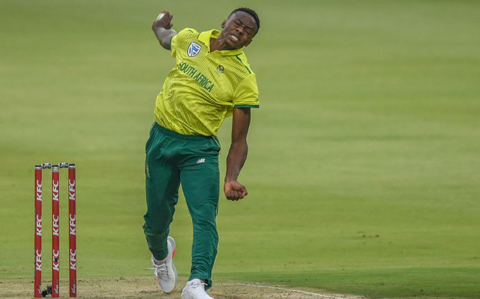 FILE: South Africa's Kagiso Rabada bowls during the first T20 international cricket match between South Africa and Australia at The Wanderers Stadium in Johannesburg on 21 February 2020. Picture: AFP