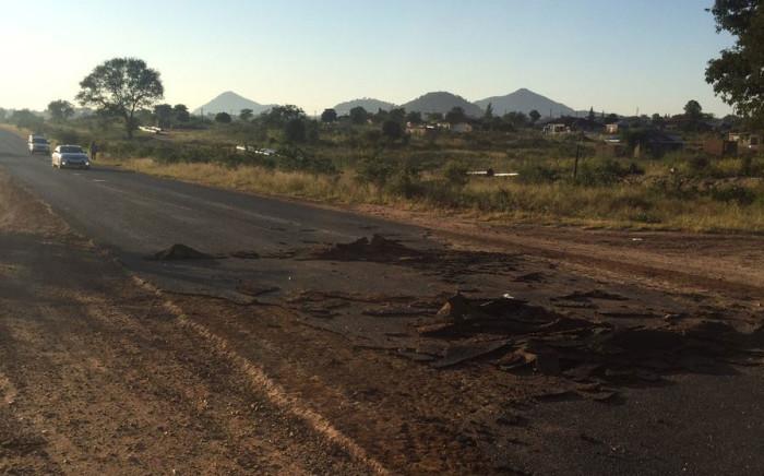 A road damaged in a protest in Vuwani. Picture: Pelane Phakgadi/EWN