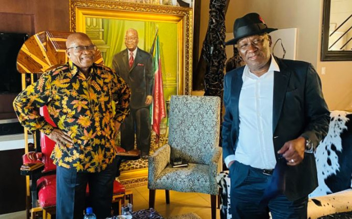 Former President Jacob Zuma hosts Police Minister Bheki Cele at his Nkandla homestead on 18 February 2021. Picture: Twitter/@DZumaSambudla