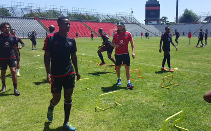 Orlando Pirates players prepare for the away leg of the CAF Confederation Cup Final. Picture: Orlando Pirates FC @Orlando_Pirates.